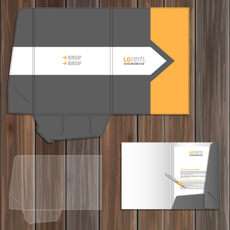 folder: Classic gray folder template design for corporate identity with arrow and orange element. Stationery set
