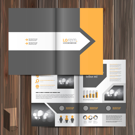 catalog background: Classic gray brochure template design with arrow and orange element. Cover layout