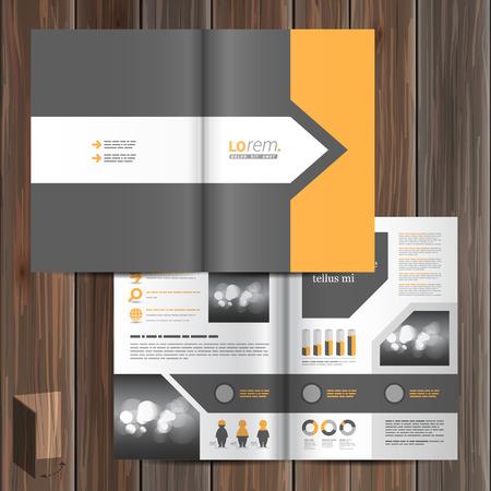 cubiertas: Dise�o gris cl�sico plantilla de folleto con la flecha y el elemento de naranja. Dise�o de la cubierta
