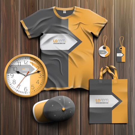 souvenirs: Classic gray promotional souvenirs design for corporate identity with arrow and orange element. Stationery set