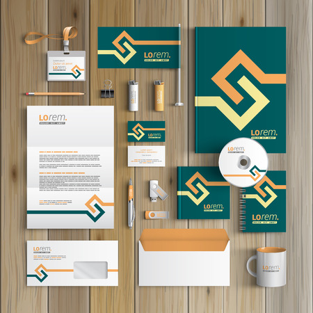 Green corporate identity template design with yellow geometric elements. Business stationery Ilustrace