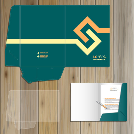 ad: Green folder template design for corporate identity with yellow geometric elements. Stationery set