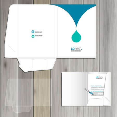 carpetas: Diseño de la plantilla de carpeta blanca de la identidad corporativa con gota azul. Conjunto del papel