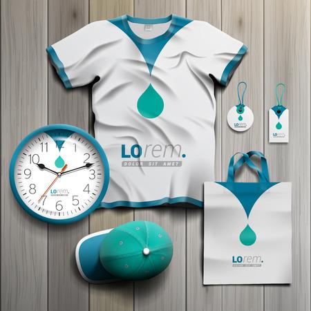 uniform: Blanco diseño recuerdos de promoción de la identidad corporativa con gota azul. Conjunto del papel Vectores