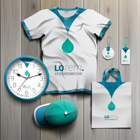 white uniform: White promotional souvenirs design for corporate identity with blue drop. Stationery set
