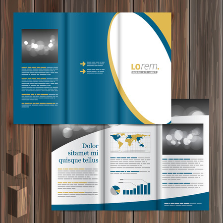 brochure template: Classic blue brochure template design with white round element. Cover layout Illustration
