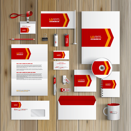 corporate identity template: White corporate identity template design with red arrow. Business stationery Illustration