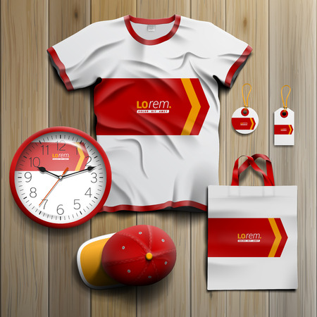 souvenirs: White promotional souvenirs design for corporate identity with red arrow. Stationery set Illustration