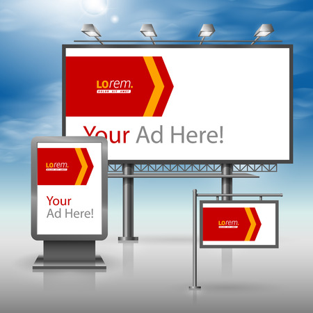 outdoor advertising: White outdoor advertising design for corporate identity with red arrow. Stationery set Illustration