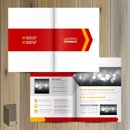 catalog design: White brochure template design with red arrow. Cover layout