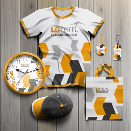 amarillo y negro: Blanco diseño souvenirs publicitarios para la identidad corporativa con elementos geométricos negros y amarillos. Conjunto del papel