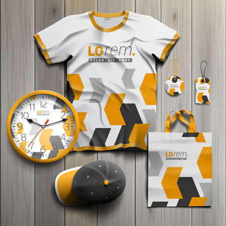souvenirs: White promotional souvenirs design for corporate identity with black and yellow geometric elements. Stationery set