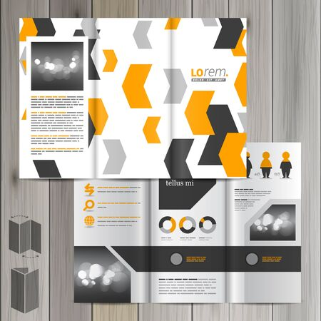 business flyer: White brochure template design with black and yellow geometric elements. Cover layout