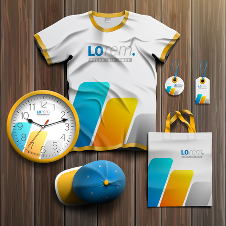 souvenirs: White promotional souvenirs design for corporate identity with blue and yellow geometric elements. Stationery set