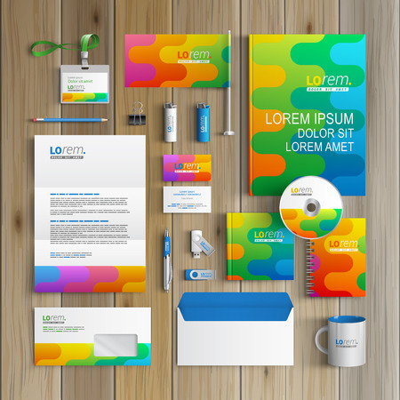 Color corporate identity template design with art wavy pattern. Business stationery
