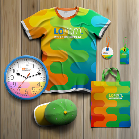 souvenirs: Color promotional souvenirs design for corporate identity with art wavy pattern. Stationery set