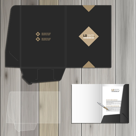 Classic black folder template design for corporate identity with rhombus. Stationery set