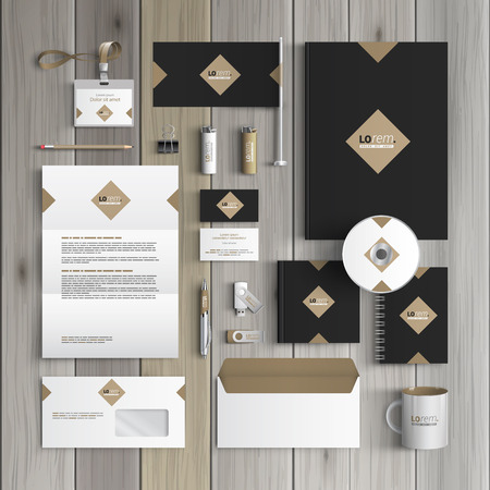 editable: Classic black corporate identity template design with rhombus. Business stationery Illustration