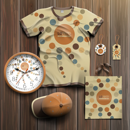 souvenir: Creative promotional souvenirs design for corporate identity with round pattern element. Stationery set Illustration