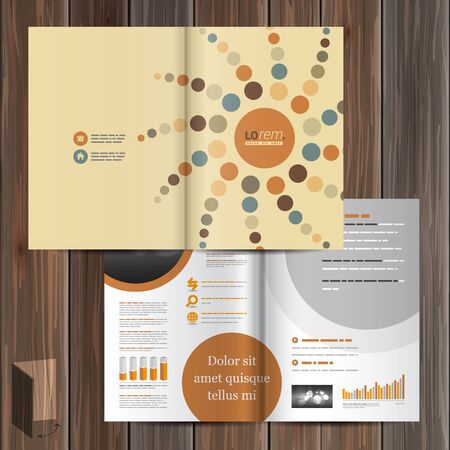 brown background: Creative brochure template design with round pattern element. Cover layout