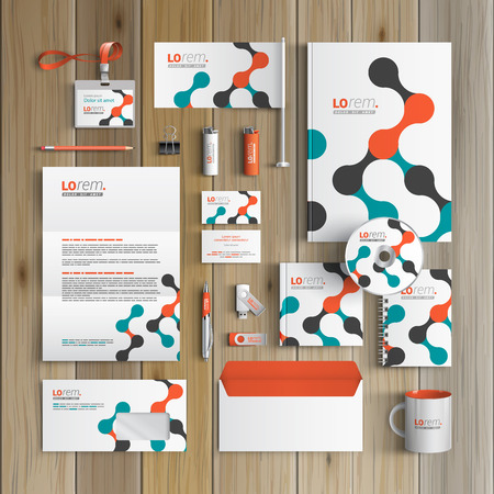 White corporate identity template design with geometric pattern. Business stationery Vettoriali