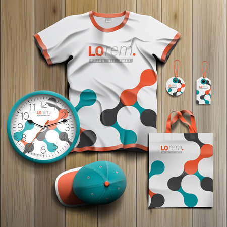 tshirts: White promotional souvenirs design for corporate identity with geometric pattern. Stationery set