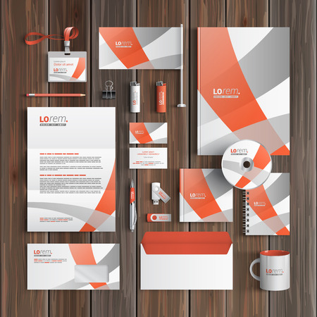stationery: White corporate identity template design with gray and red art elements. Business stationery