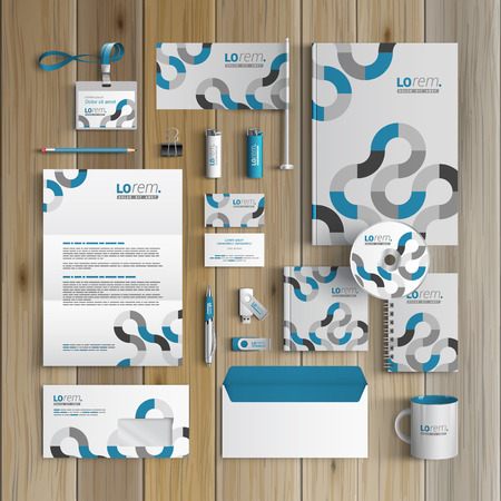 Gray corporate identity template design with blue round pattern. Business stationery