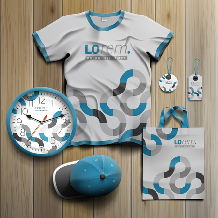 souvenirs: Gray promotional souvenirs design for corporate identity with blue round pattern. Stationery set