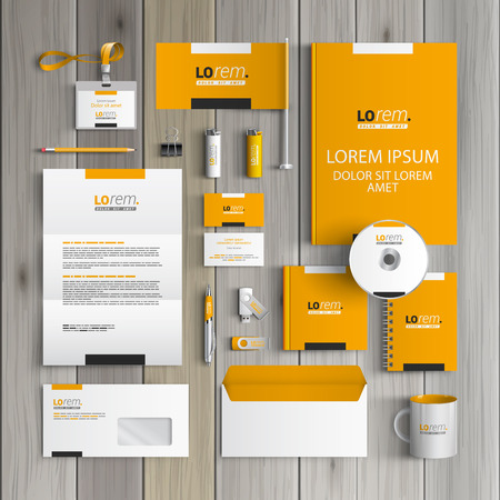 stationery: Yellow classic corporate identity template design with black and white square elements. Business stationery Illustration