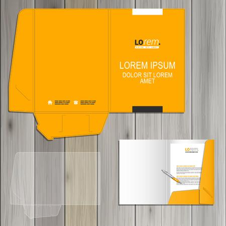 amarillo y negro: Diseño de la plantilla de carpeta clásico amarillo de la identidad corporativa con elementos cuadrados blancos y negros. Conjunto del papel