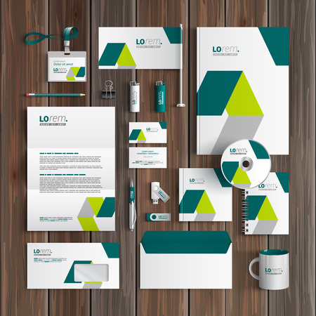 stationery set: White corporate identity template design with green geometric elements. Business stationery Illustration