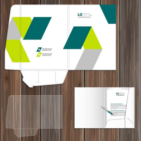 identity template: White folder template design for corporate identity with green geometric elements. Stationery set Illustration