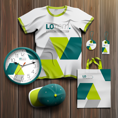 souvenirs: White promotional souvenirs design for corporate identity with green geometric elements. Stationery set