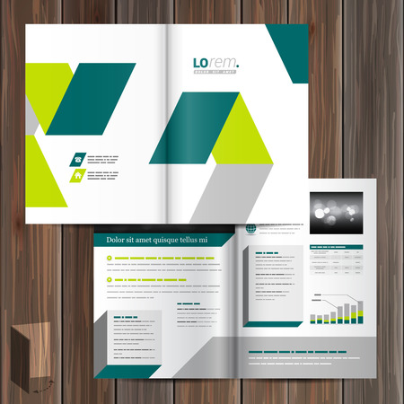 layout design template: White brochure template design with green geometric elements. Cover layout Illustration