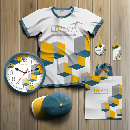 souvenirs: White promotional souvenirs design for corporate identity with yellow cubes. Stationery set Illustration