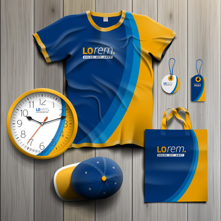 souvenirs: Blue promotional souvenirs design for corporate identity with yellow wave. Stationery set