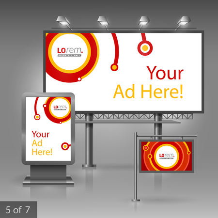 outdoor advertising: Red outdoor advertising design for company with digital circles. Elements of stationery.