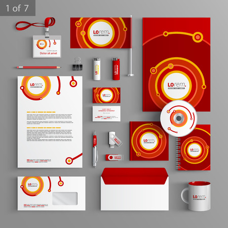 Red stationery template design with digital round elements. Documentation for business. Illustration