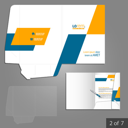folder: Diseño de la plantilla de carpeta geométrica de la empresa con formas cuadradas de color amarillo y azul. Elemento de artículos de papelería.
