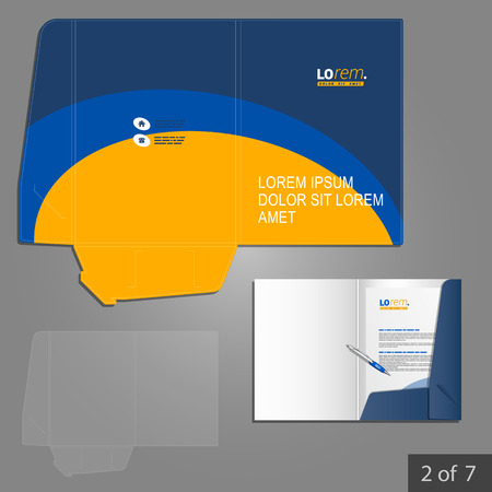 Folder template design for company with blue and yellow lines. Element of stationery. Çizim