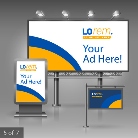 outdoor advertising: Outdoor advertising design for company with blue and yellow lines. Elements of stationery.