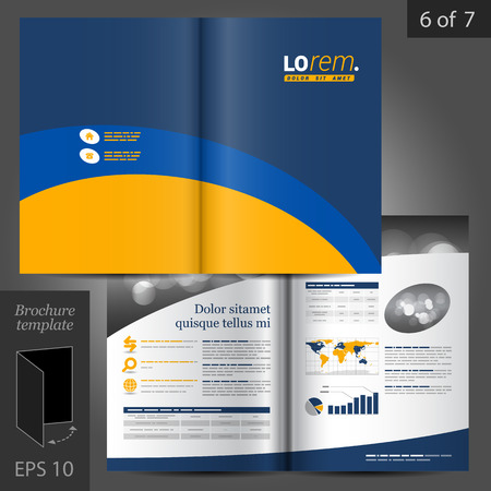 business flyer: Vector brochure template design with blue and yellow lines