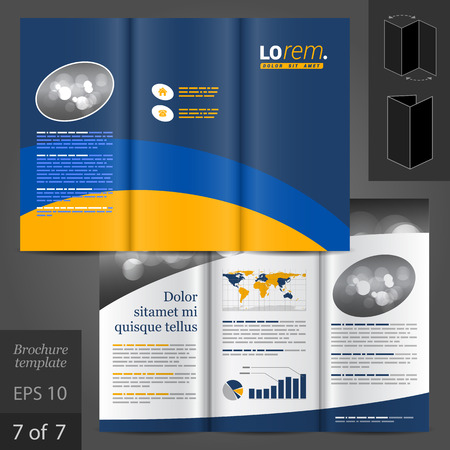 brochure template: Vector brochure template design with blue and yellow lines