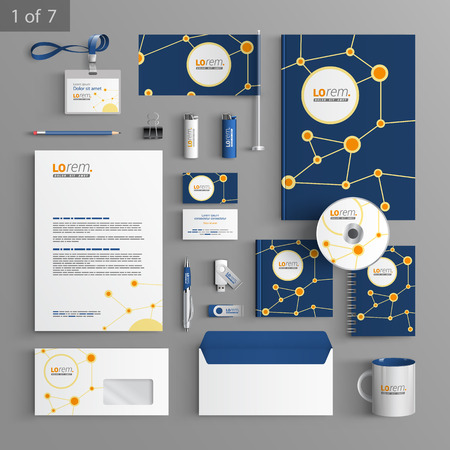 corporate identity template: Blue stationery template design with round scientific elements. Documentation for business.