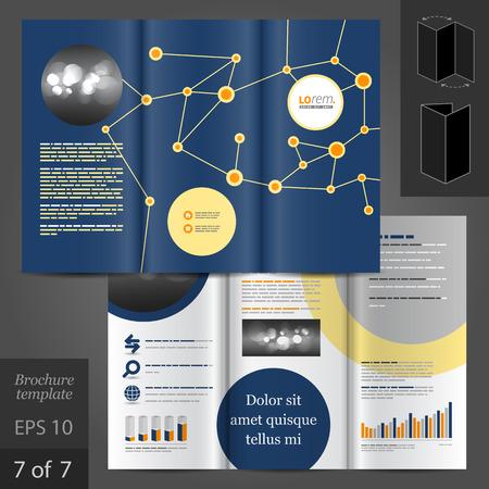 scientific: Blue vector brochure template design with round scientific elements