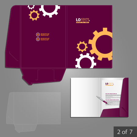 rackwheel: Purple folder template design for company with mechanism. Element of stationery.