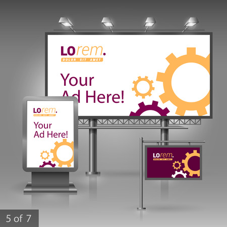rackwheel: Purple outdoor advertising design for company with mechanism. Elements of stationery.