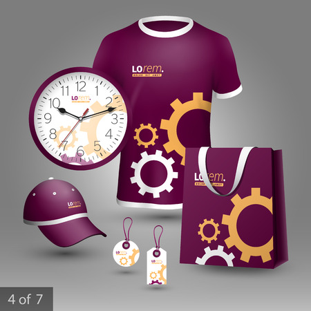 rackwheel: Purple promotional souvenirs design for company with mechanism. Elements of stationery. Illustration