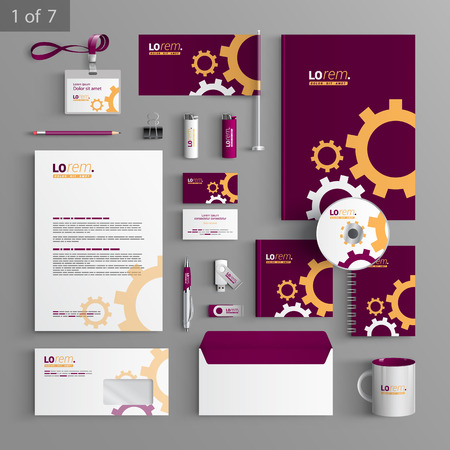 rackwheel: Purple stationery template design with mechanism. Documentation for business.